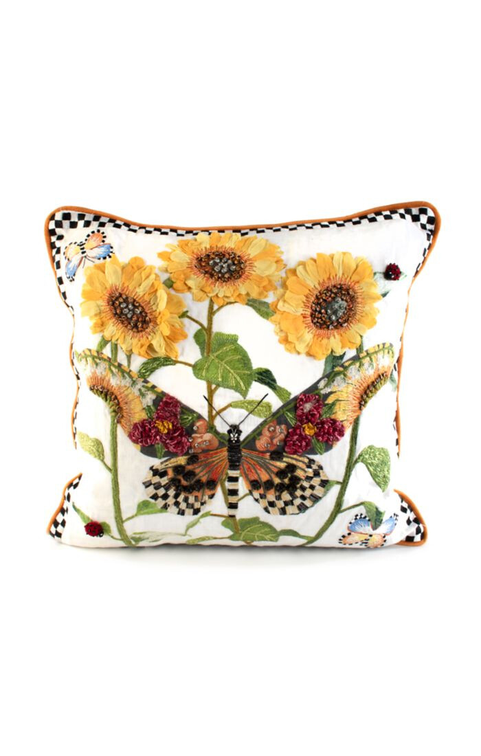 Monarch butterfly square pillow white
