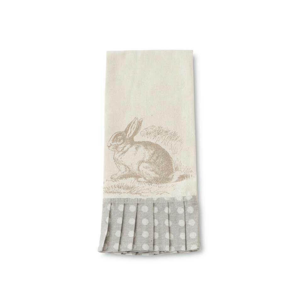 Rabbit towel gray polka dot