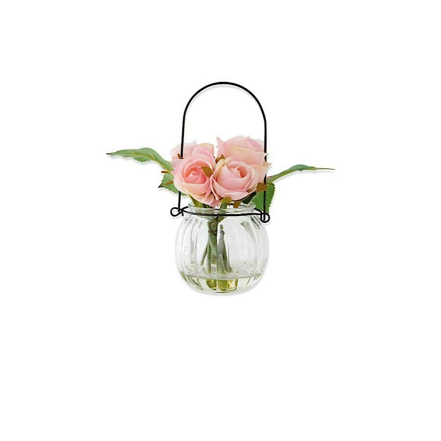 7 inch glass bottle with roses wire hanger