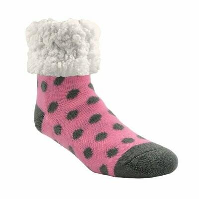 Pudus classic socks pink and gray polka dot