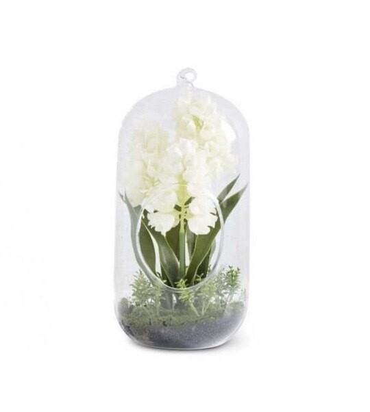 Glass dome with hyacinth white