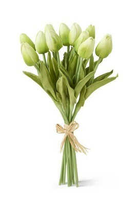 13 inch real touch mini tulip bouquet green
