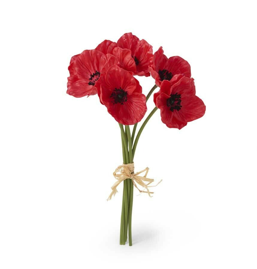 11 inch real touch poppy bouquet red