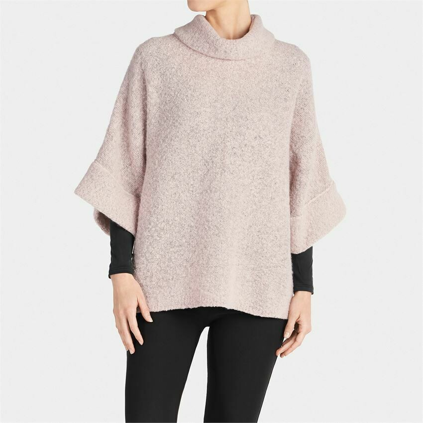 Fuzzy cowl neck top dusty rose