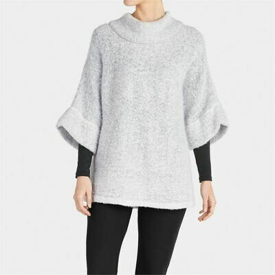 Fuzzy cowl neck top light gray
