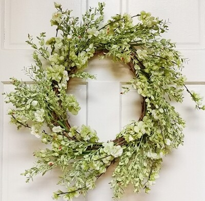 22 inch blossom and leaf wreath green