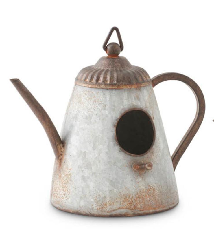 Tin kettle birdhouse narrow