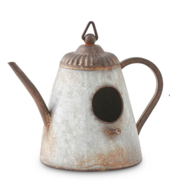 Tin kettle birdhouse narrow