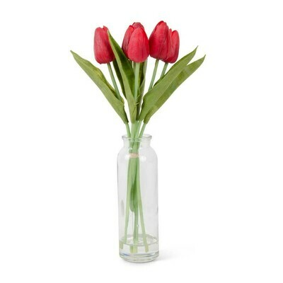 12 inch tulip in glass bottle