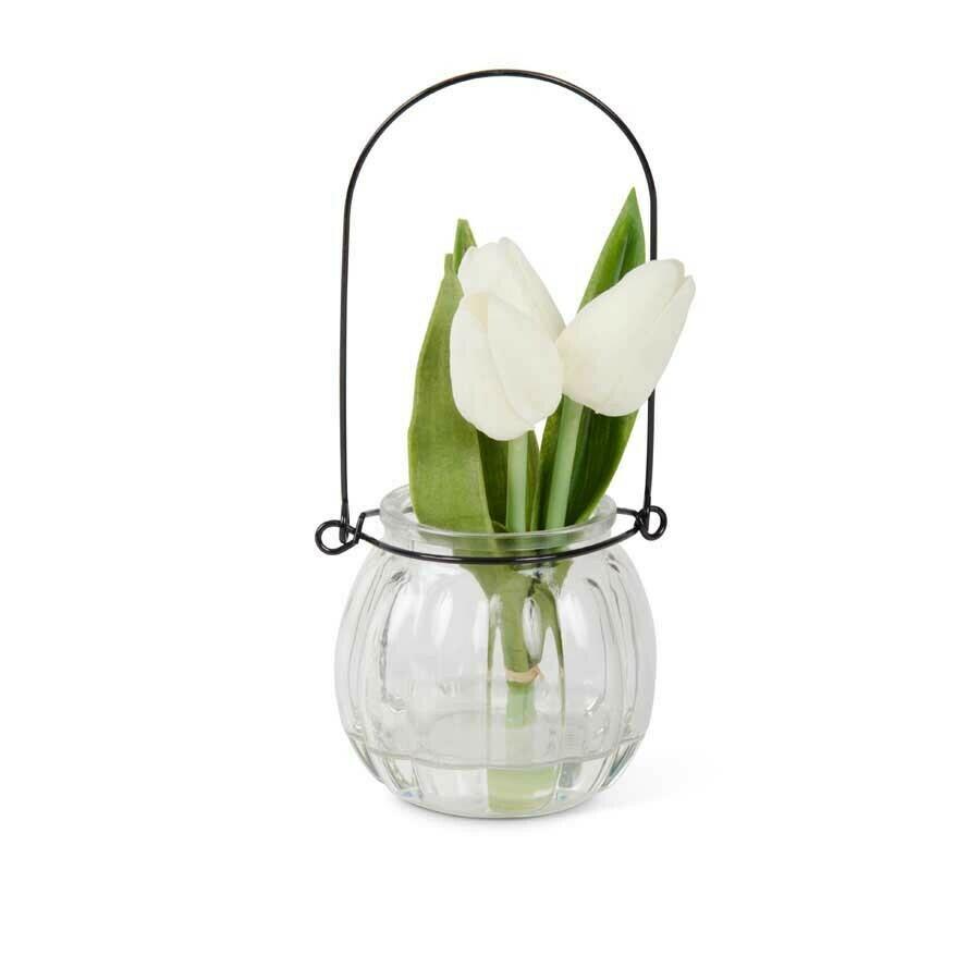7 inch tulip in glass bottle white