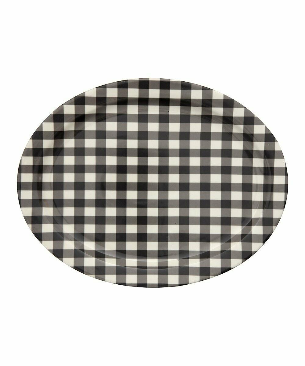 Black gingham platter
