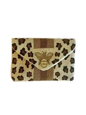 Queen bee beaded crossbody bag leopard beaded