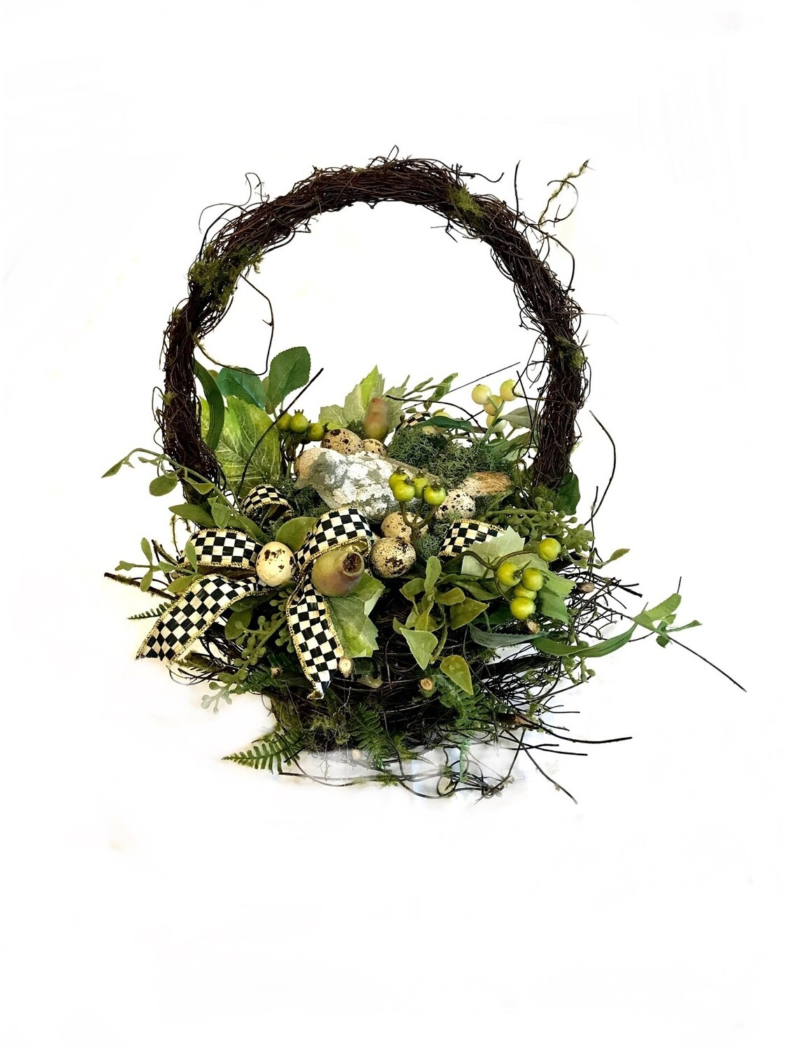 Mossy twig basket large bird floral