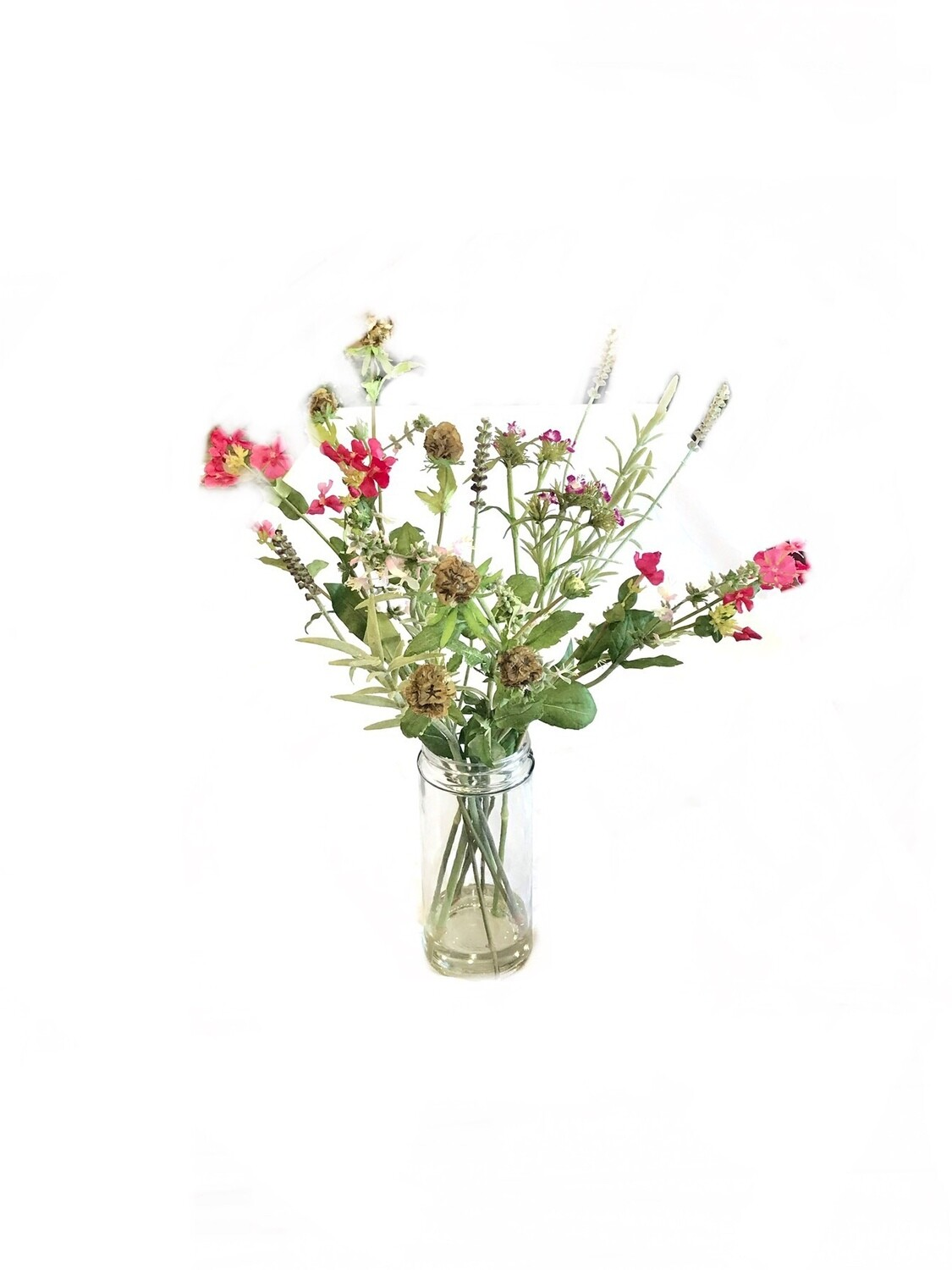 Gathered flowers in glass vase