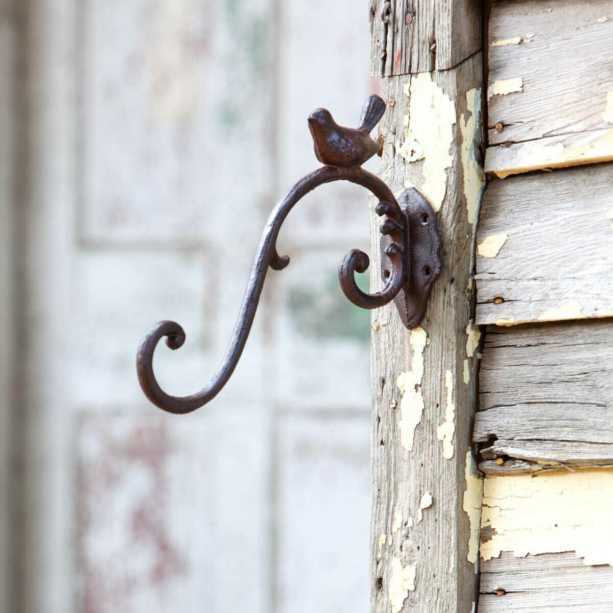 Cast iron hook hanger with bird