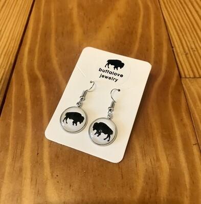 Buffalo dangle earrings white