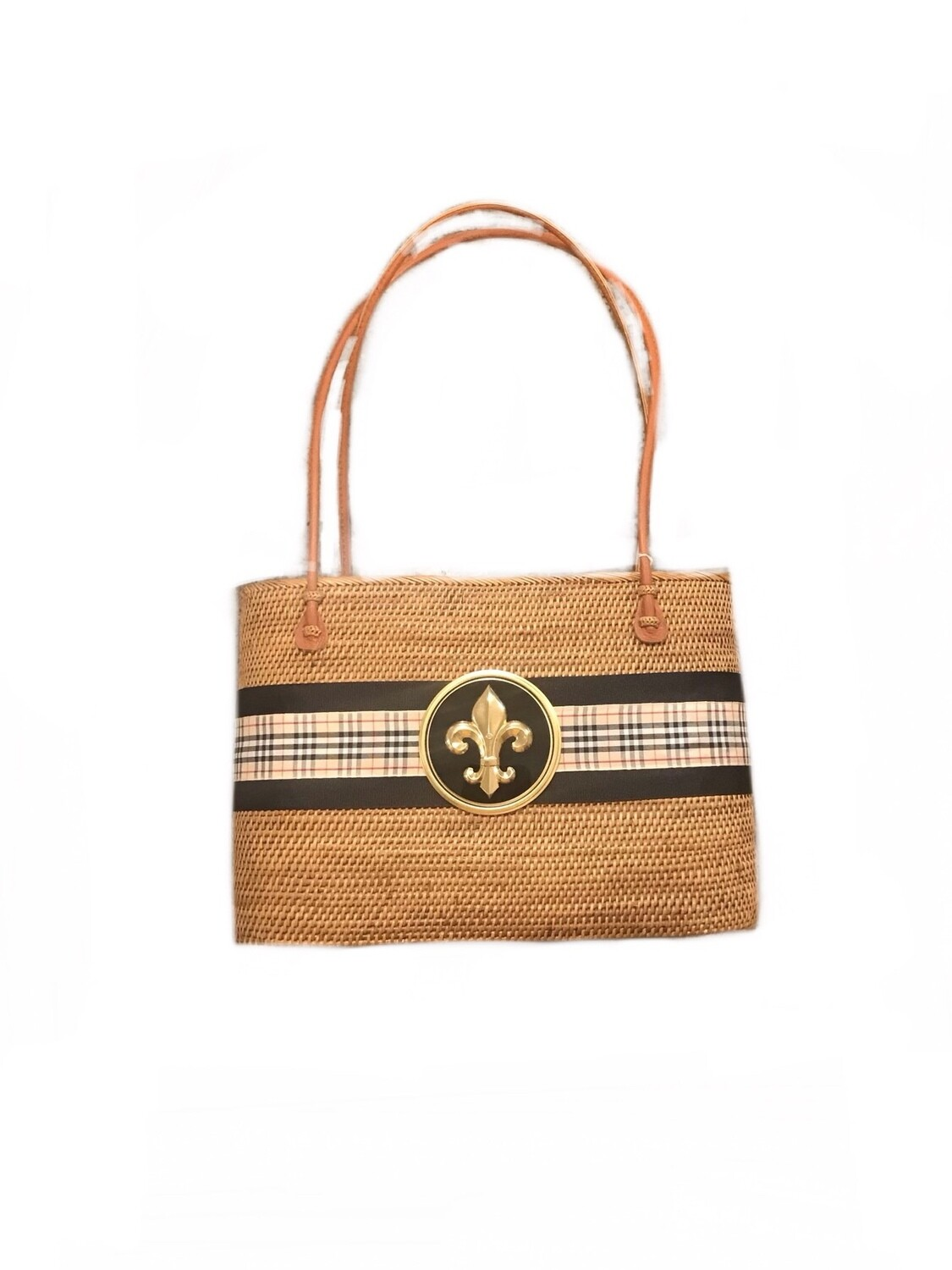 Straw bag burberry ribbon