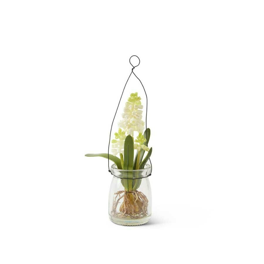 8 inch lily of the valley in glass jar with wire
