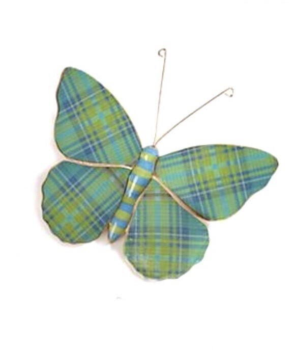 Green and blue plaid butterfly