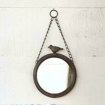 Hanging 11 inch round mirror with bird on top