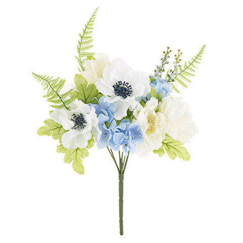 Peony anemone fern bouquet blue and white