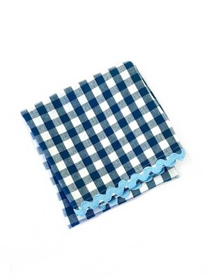 Gingham towel blue
