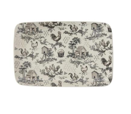 Stoneware platter with chicken toile pattern 15 inch