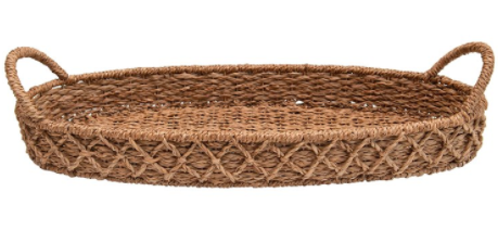 Woven seagrass oval tray with handles