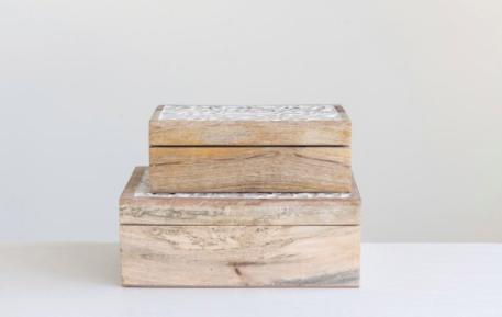 Carved mango wood box small