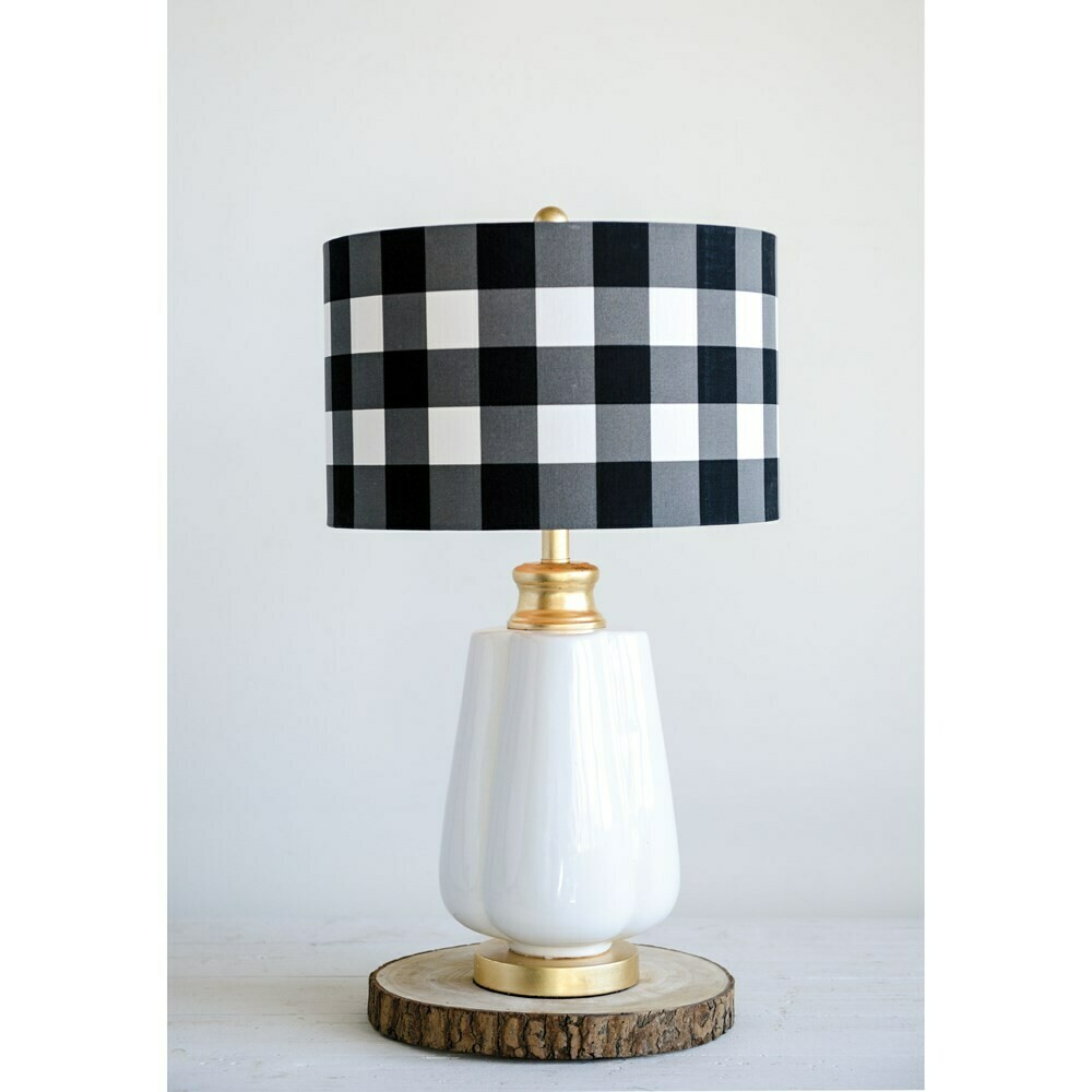 27 inch ceramic table lamp with black gingham shade