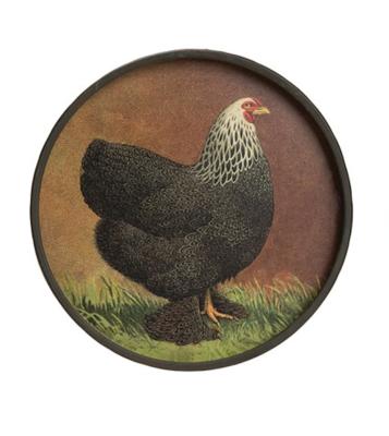 Round metal chicken wall decor black 11 inch