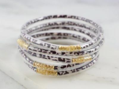 Glitter bracelet set silver leopard