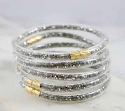 Glitter bracelet set silver sequin