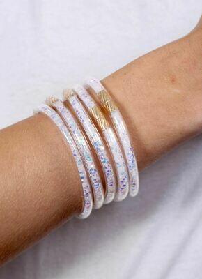 Glitter bracelet set white opal