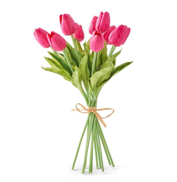 13 inch real touch mini tulip bouquet fuchsia