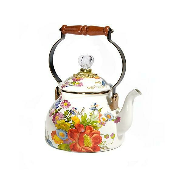 Flower market 2 qt tea kettle white