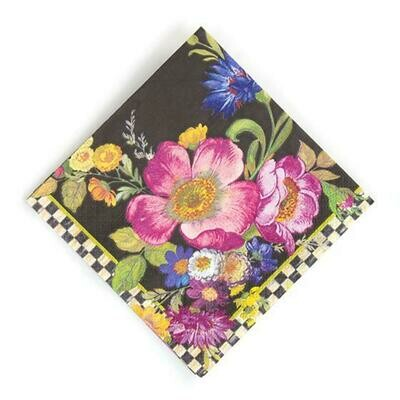 Flower market paper napkin cocktail black