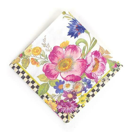 Flower market paper napkin cocktail white