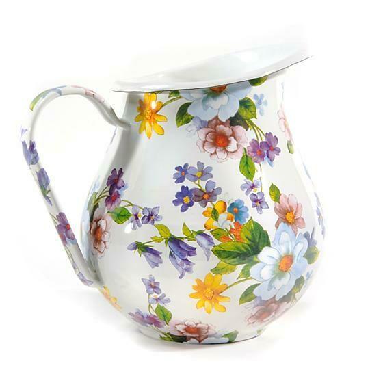 Flower market pitcher white