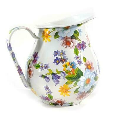 Flower market pitcher white