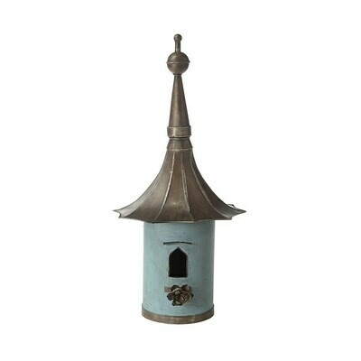 34 inch decorative metal birdhouse