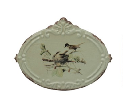 Metal box with birds oval