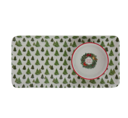 Ceramic platter with trees and merry christmas dish