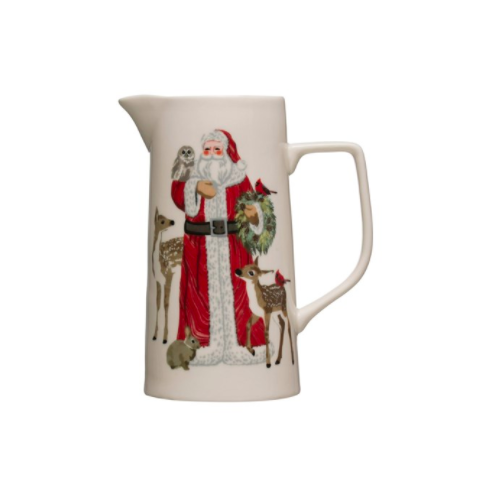 Stoneware pitcher with santa and animals