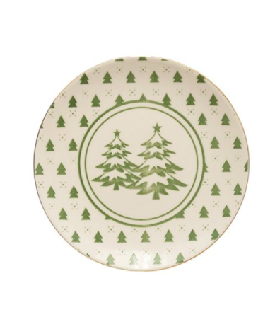 Stoneware plate with trees green