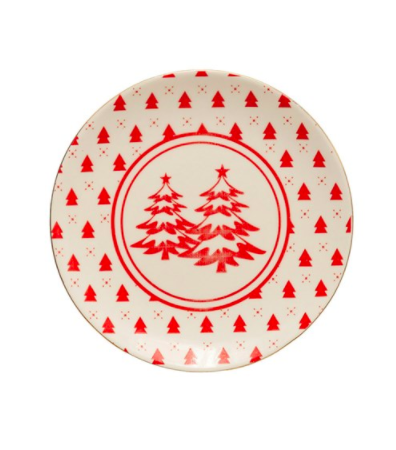 Stoneware plate with trees red