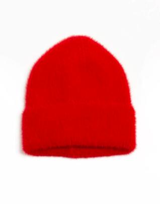 Angora beanie hat red