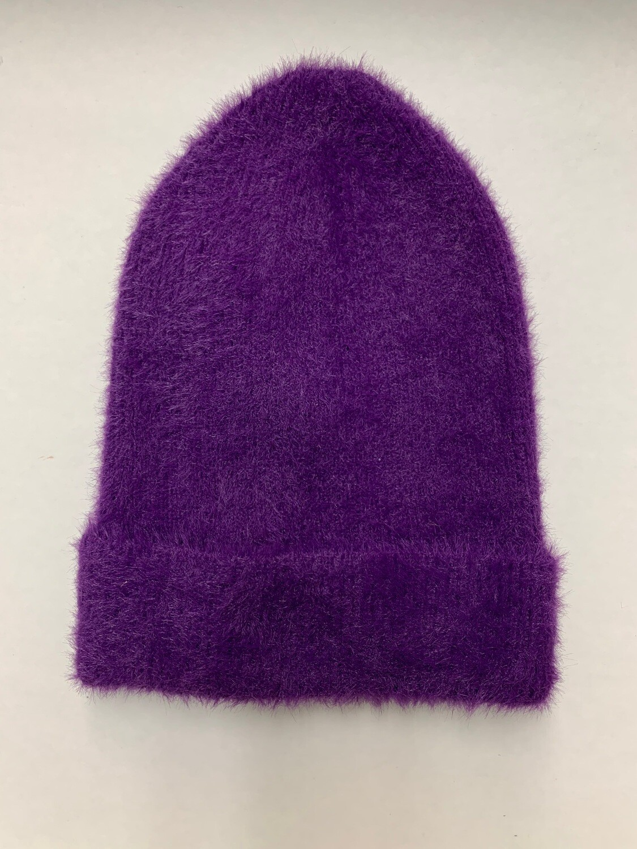 Angora beanie hat purple