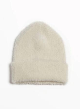 Angora beanie hat cream