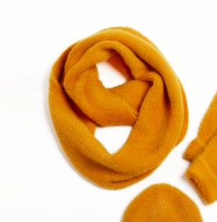 Angora infinity scarf mustard